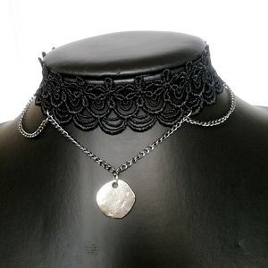 Jewelry - 🎈3/$12 Black Choker with Silver Chain Necklace
